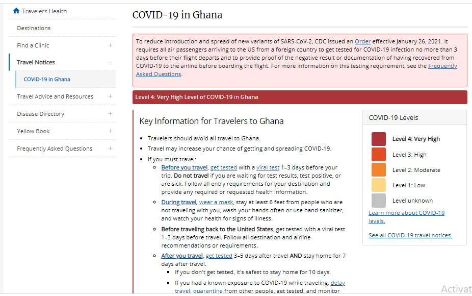 Avoid all travels to Ghana, U.S. CDC tells Americans 72