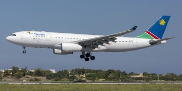 Luqa, Malta - September 29, 2019: Air Namibia Airbus A330-243 (Reg: V5-ANP) arriving in Malta for servicing by Lufthansa Technik GAB rejects IEA's proposal for BoG to cap lending rate Ghana Association of Bankers dismiss calls for capping of lending rate Air Namibia 360x180