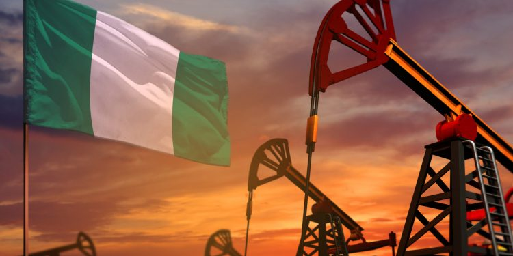 Nigeria oil industry concept, industrial illustration. Nigeria flag and oil wells and the red and blue sunset or sunrise sky background - 3D illustration uae and saudi compromise; what is in it for nigeria? UAE and Saudi compromise; what is in it for Nigeria? nigerian oil 750x375
