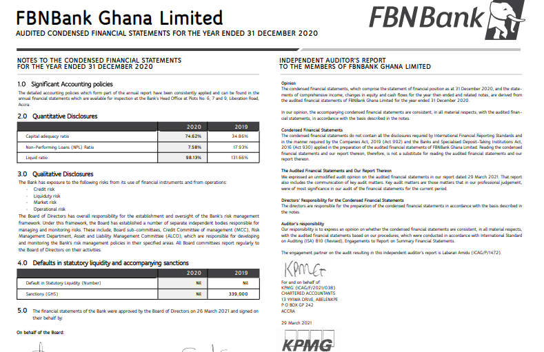 fbn bank financial statement for 2020 FBN Bank Financial Statement for 2020 image 5