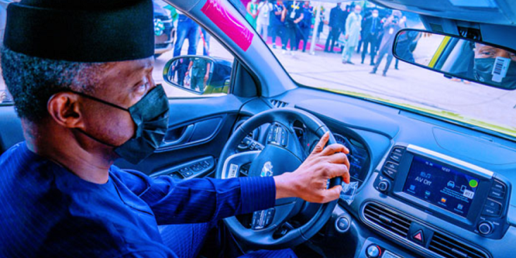 vice president osinbajo test drives nigeria's first locally assembled electric car Vice President Osinbajo test drives Nigeria's first locally assembled electric car Osinbajo electric car