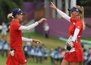 KAWAGOE, JAPAN - AUGUST 07: (L-R) Nelly Korda of Team United States celebrates with her sister Jessica Korda of Team United States after Nelly secured the gold medal on the 18th green during the final round of the Women's Individual Stroke Play on day fifteen of the Tokyo 2020 Olympic Games at Kasumigaseki Country Club on August 07, 2021 in Kawagoe, Japan. (Photo by Mike Ehrmann/Getty Images) Solheim Cup 2021: Team Europe defeat Team USA 15-13 to claim historic victory on away soil Solheim Cup 2021: Team Europe defeat Team USA 15-13 to claim historic victory on away soil 1332796195 350x250