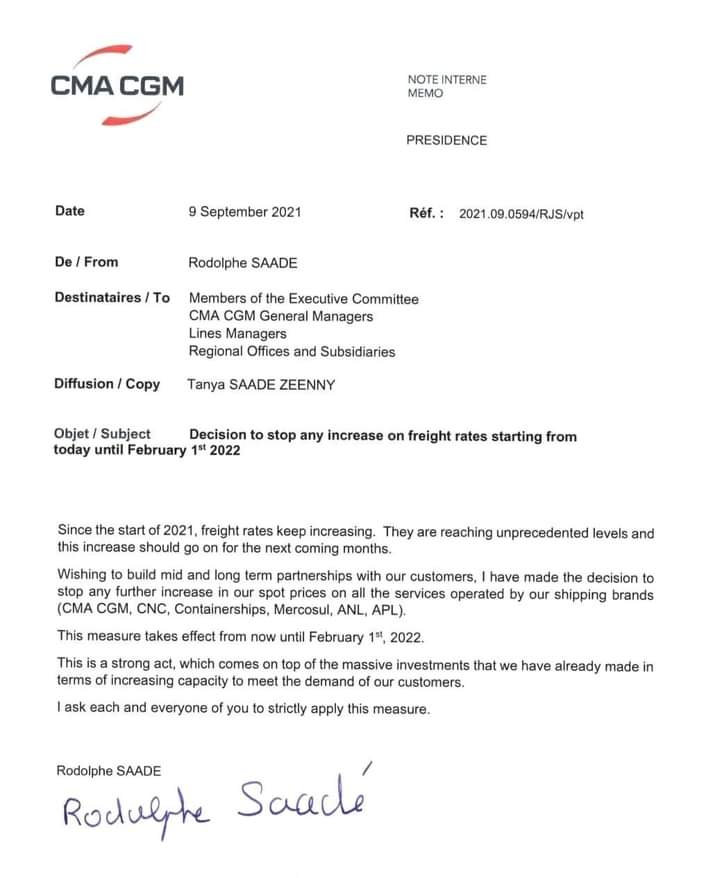 Trading community welcomes freeze on freight rates by CMA CGM Trading community welcomes freeze on freight rates by CMA CGM WhatsApp Image 2021 09 14 at 13